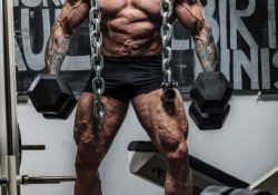 bodybuilder holding dumbbells