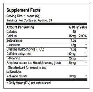 neurocore nutrition label